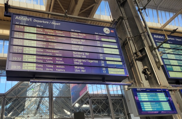 Departure sign at Stuttgart central station
