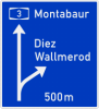Interchange advance directional sign